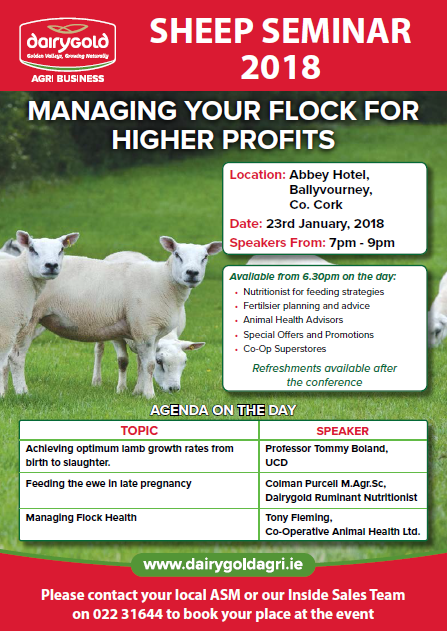 Dairygold Sheep Seminar | Abbey Hotel, Ballyvourney, Co. Cork